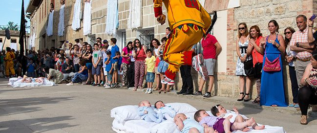 Baby jumping festival, Spain