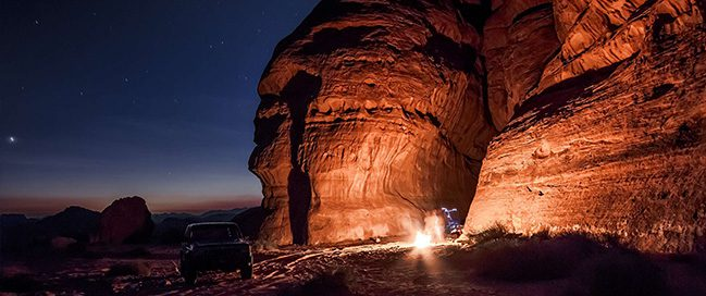 Camp under the stars in Wadi Rum