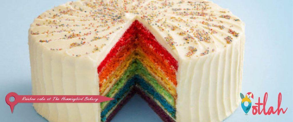 Rainbow cake at The Hummingbird Bakery