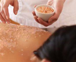 Relaxing massage with Himalayan salt bath
