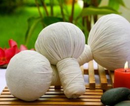 Herbal massage with hot ball