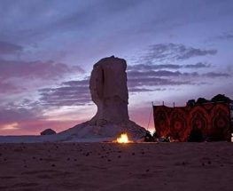 Desert camping in the White and Black desert in Egypt.